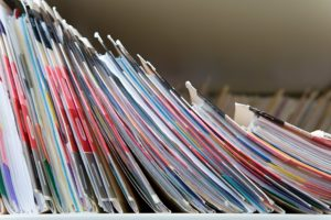Row of colorful files